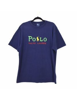 Polo Ralph Lauren T Shirt Vintage 90s Made In Usa Embroidered Xl Primary Colors by Polo Ralph Lauren