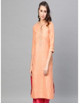 Women Peach Coloured And Golden Woven Design Straight Kurta by W