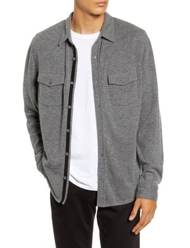 Button Up Wool And Cashmere Knit Shirt Jacket by Vince