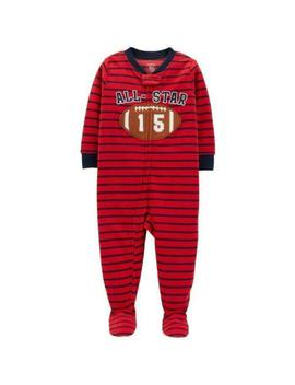 Carter's® Boys 5 T All Star Football Stripe 1 Pc. Fleece Pajama/Sleeper Nwt by Carter's