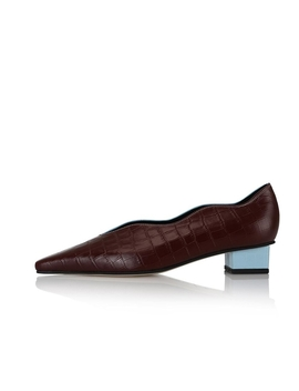 Cassie 2 Flat Shoes / Sky Blue Croc+Burgundy Croc by Yuul Yie