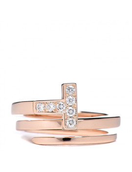 Tiffany 18 K Rose Gold Diamond T Square Wrap Ring 47 4 by Tiffany