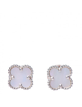 Van Cleef & Arpels 18 K White Gold Mother Of Pearl Sweet Alhambra Earrings by Van Cleef & Arpels