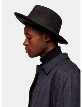 Premium Wool Charcoal Grey Fedora by Topman