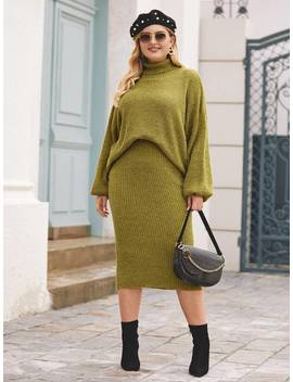 Shein Plus Lantern Sleeve Turtleneck Sweater & Skirt Set by Sheinside