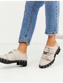 Asos Design Medium Chunky Studded Flat Shoes With Buckle In Beige by Asos Design