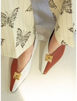 Cassie Flat Shoes Brick Brown White by Yuul Yie