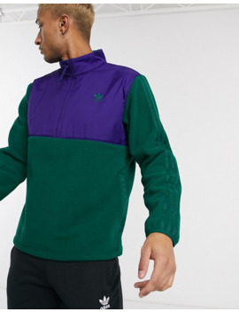 Adidas Originals Overhead Half Zip Fleece Jacket With 3 Stripes In Green Tech Pack by Adidas Originals