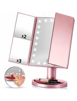 Led Vanity Mirror 1x 2x 3x Magnification Tri Fold Makeup Cost Cosmetics Touch Screen Power High Powered Lights Usb Charging Portable Compact by Britenway