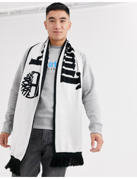 Timberland Large Reversible Logo Scarf In Black/White by Timberland's