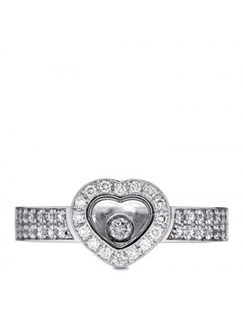 Chopard 18 K White Gold Diamond Happy Heart Ring 53 6.25 by Chopard