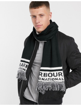 Barbour International Fleet Knit Scarf In Black/White by Barbour