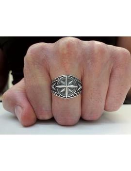 Compass Ring, Sterling Silver Ring, Man Silver Ring, Compass Band, Traveler Ring, Man Cross Ring, Signet Ring, Wind Rose Ring, Compass Rose by Etsy