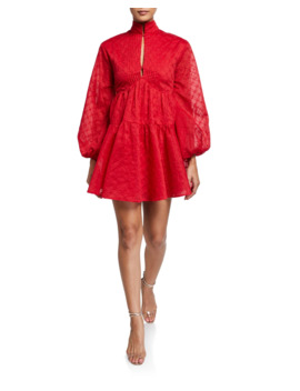 Dignity High Neck Blouson Sleeve Dress by C/Meo