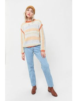 Uo Marcia Mixed Knit Crew Neck Sweater by Urban Outfitters