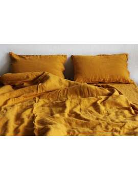 Linen Duvet Cover In Mustard Color. Stonewashed Bedding. King, Queen, Twin, Full Sizes by Etsy