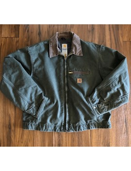 Vintage Carhartt Work Jacket Forest Green Heavy Coat Usa by Vintage  ×  Carhartt  ×  Made In Usa  ×