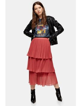Rose Pink Tiered Pleat Midi Skirt by Topshop