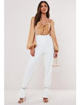 Champagne Satin Bow Front Milkmaid Crop Top by Missguided