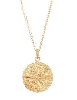 Gold Plated Sterling Silver North Star Medallion Pendant Necklace by Argento Vivo