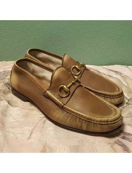 Gucci Brown Leather Gold Horsebit 1953 Style Loafers Size 7 by Gucci