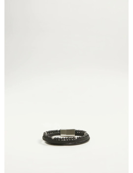 Leather Mixed Bracelet by Mango