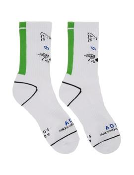 White Ader Error Edition Fox Socks by Maison KitsunÉ