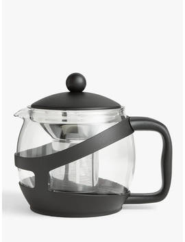 John Lewis & Partners The Basics 5 Cup Teapot, 1.2 L, Clear/Black by John Lewis & Partners
