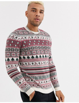 Asos Design Christmas Jumper With All Over Design In Oatmeal by Asos Design