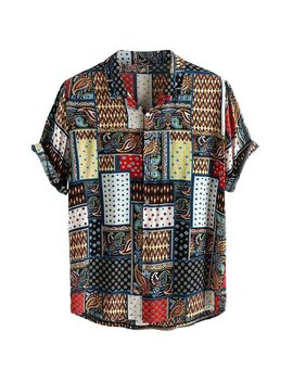 Womail Vintage Ethnic Style Men Shirt Printing Loose Cotton Short Sleeve Stand Collar Breathable Tops Hawaiian Shirts 2019 New by Ali Express.Com