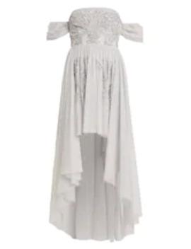 Embellished High Low Bardot Dress   Festklänning by Maya Deluxe