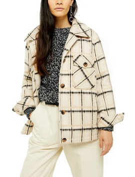 Check Print Jacket by Topshop