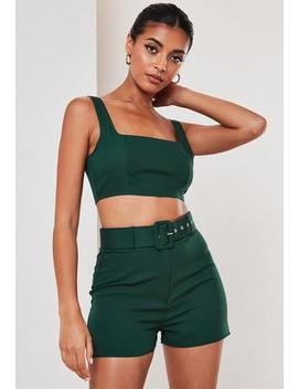 Green Co Ord Belted Shorts by Missguided