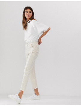Asos White   Jean Court à Coutures Apparentes Et Ourlets à Bords Bruts by Asos White