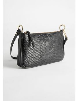 Croc Embossed Leather Baguette Bag by & Other Stories