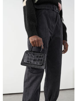 Croc Embossed Mini Leather Bag by & Other Stories