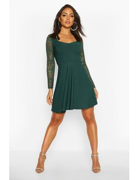 Lace Sleeve Plunge Skater by Boohoo