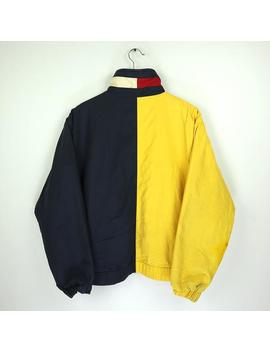 Tommy Hilfiger Reversible Vintage 90s Windbreaker Outdoor Jacket Winter Coat Sailing Yacht Boat Sailing Gear Color Block Spellout Big Logo by Etsy