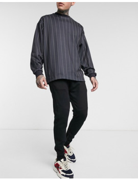 Pull&Bear Slim Fit Jogger With Half Zip In Black by Pull&Bear