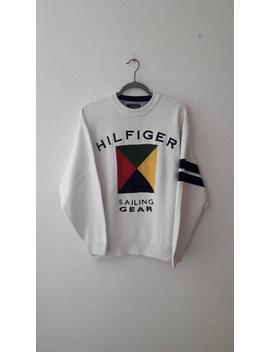 Tommy Hilfiger Voile Engins Vintage Lourd Tricoté épeler La Taille Sweat Shirt L by Etsy