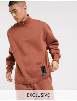 Collusion High Neck Zip Through Sweatshirt by Collusion