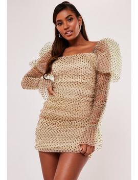 Cream Polka Dot Organza Puff Long Sleeve Mini Dress by Missguided