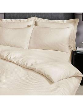 Catherine Lansfield Premium Satin Stripe Cream Duvet Cover And Pillowcase Set by Dunelm