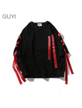 Guyi Black Solid Red Drawstring Tag Hoodies Men White Rib Sleeve Letter Off Pullover Male Fashion Casual Streetwear Sweatshirt by Ali Express.Com
