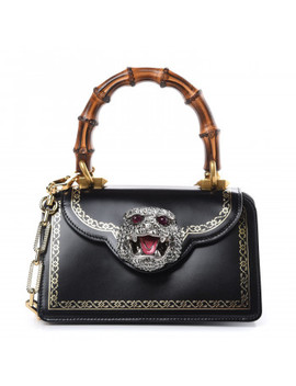 Gucci Calfskin Mini Thiara Bamboo Top Handle Bag Black by Gucci