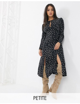 Topshop Petite Midi Dress With Split Leg In Black by Topshop
