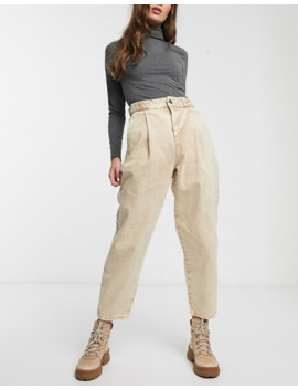 Asos Design Tapered Boyfriend Jeans With D Ring Waist Detail With Curved Seams In Washed Lemon by Asos Design