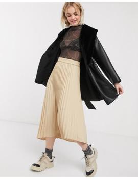 Monki Pleated Midi Skirt In Beige by Monki