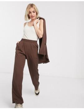 Monki Slouch Wide Leg Twill Trousers In Brown by Monki