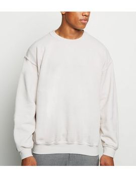 Off White Crew Neck Sweatshirt by New Look